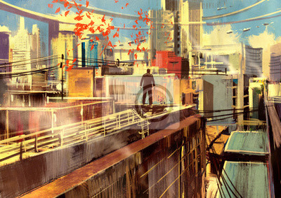 Пейзаж современный городской Деловой человек, стоя на крыше небоскреба над большой город,цифровая живописьПейзаж современный городской<br>Репродукция на холсте или бумаге. Любого нужного вам размера. В раме или без. Подвес в комплекте. Трехслойная надежная упаковка. Доставим в любую точку России. Вам осталось только повесить картину на стену!<br>