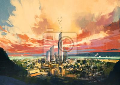 Пейзаж современный городской Цифровая живопись футуристический научно-фантастический город с небоскреба на закате ,иллюстрацииПейзаж современный городской<br>Репродукция на холсте или бумаге. Любого нужного вам размера. В раме или без. Подвес в комплекте. Трехслойная надежная упаковка. Доставим в любую точку России. Вам осталось только повесить картину на стену!<br>