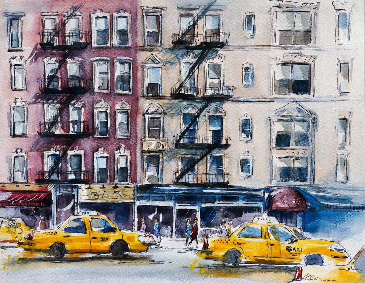 Пейзаж современный городской Шумных нью-йоркских улиц. Акварельный эскизПейзаж современный городской<br>Репродукция на холсте или бумаге. Любого нужного вам размера. В раме или без. Подвес в комплекте. Трехслойная надежная упаковка. Доставим в любую точку России. Вам осталось только повесить картину на стену!<br>