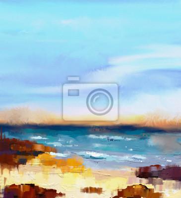 Пейзаж современный морской Абстрактные красочные картина маслом пейзаж на холсте. Полу - абстрактный образ моря и пляж с волнами, скалами и голубым небом. Летний сезон природа фонПейзаж современный морской<br>Репродукция на холсте или бумаге. Любого нужного вам размера. В раме или без. Подвес в комплекте. Трехслойная надежная упаковка. Доставим в любую точку России. Вам осталось только повесить картину на стену!<br>