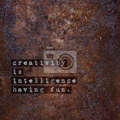 Постер-картина Мотивационный плакат Мотивационный плакат над ржавыми металлическими творчество-интеллект.Мотивационный плакат<br>Постер на холсте или бумаге. Любого нужного вам размера. В раме или без. Подвес в комплекте. Трехслойная надежная упаковка. Доставим в любую точку России. Вам осталось только повесить картину на стену!<br>