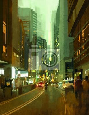Постер Современный городской пейзаж Живопись в современной городской улице города в вечернееСовременный городской пейзаж<br>Постер на холсте или бумаге. Любого нужного вам размера. В раме или без. Подвес в комплекте. Трехслойная надежная упаковка. Доставим в любую точку России. Вам осталось только повесить картину на стену!<br>