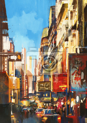 Пейзаж современный городской Красочные росписи улице города в солнечный деньПейзаж современный городской<br>Репродукция на холсте или бумаге. Любого нужного вам размера. В раме или без. Подвес в комплекте. Трехслойная надежная упаковка. Доставим в любую точку России. Вам осталось только повесить картину на стену!<br>