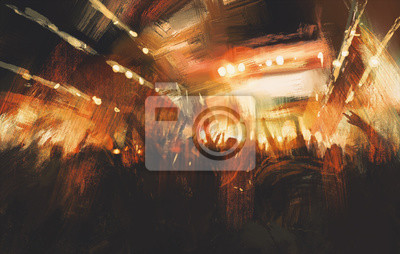 Постер Современный городской пейзаж Цифровая живопись демонстрируя ликующей толпы на концертеСовременный городской пейзаж<br>Постер на холсте или бумаге. Любого нужного вам размера. В раме или без. Подвес в комплекте. Трехслойная надежная упаковка. Доставим в любую точку России. Вам осталось только повесить картину на стену!<br>