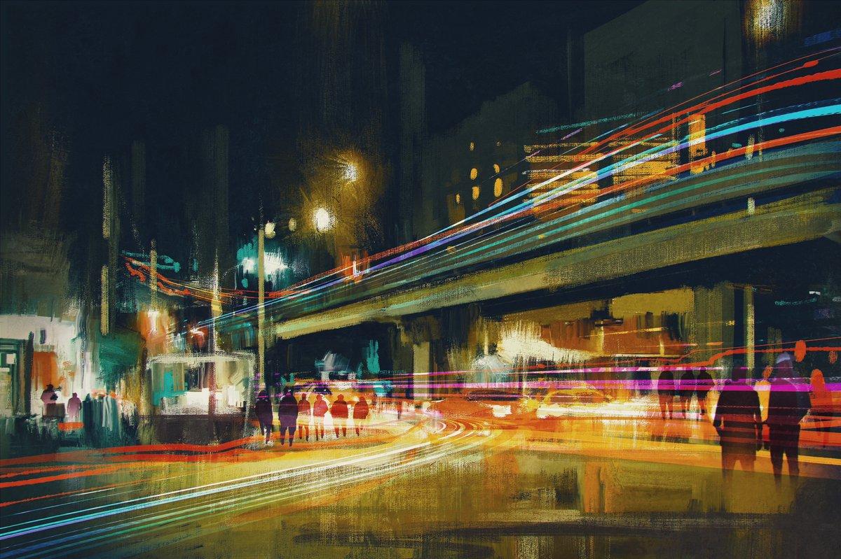 Постер Современный городской пейзаж Цифровая живопись городская улица ночью с красочный свет тропыСовременный городской пейзаж<br>Постер на холсте или бумаге. Любого нужного вам размера. В раме или без. Подвес в комплекте. Трехслойная надежная упаковка. Доставим в любую точку России. Вам осталось только повесить картину на стену!<br>