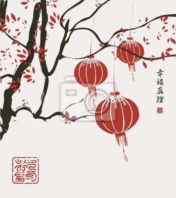 Постер-картина Иероглифы Пейзаж с деревьями и фонарями в китайском стиле акварелиИероглифы<br>Постер на холсте или бумаге. Любого нужного вам размера. В раме или без. Подвес в комплекте. Трехслойная надежная упаковка. Доставим в любую точку России. Вам осталось только повесить картину на стену!<br>