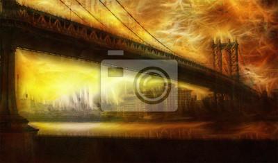 Пейзаж современный городской Манхэттен Мост ЖивописныйПейзаж современный городской<br>Репродукция на холсте или бумаге. Любого нужного вам размера. В раме или без. Подвес в комплекте. Трехслойная надежная упаковка. Доставим в любую точку России. Вам осталось только повесить картину на стену!<br>