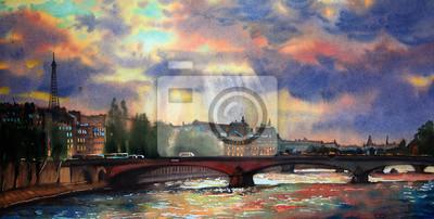Постер Современный городской пейзаж Акварельная живопись в Париже, Франция.Современный городской пейзаж<br>Постер на холсте или бумаге. Любого нужного вам размера. В раме или без. Подвес в комплекте. Трехслойная надежная упаковка. Доставим в любую точку России. Вам осталось только повесить картину на стену!<br>