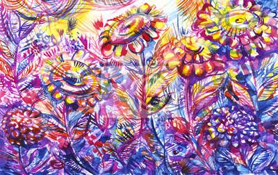 Цветы в современной живописи, картина Заросшие большой фиолетовый цветы/ акварельЦветы в современной живописи<br>Репродукция на холсте или бумаге. Любого нужного вам размера. В раме или без. Подвес в комплекте. Трехслойная надежная упаковка. Доставим в любую точку России. Вам осталось только повесить картину на стену!<br>