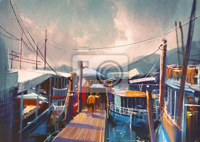 Пейзаж современный городской Красочные картины из рыбацких лодок в гавани летом,Репродукция на холсте или бумаге. Любого нужного вам размера. В раме или без. Подвес в комплекте. Трехслойная надежная упаковка. Доставим в любую точку России. Вам осталось только повесить картину на стену!<br>