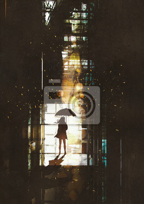 Постер Современный городской пейзаж Силуэт женщины с зонтиком, стоящего у окна с ярким светом снаружи,иллюстрация, живописьСовременный городской пейзаж<br>Постер на холсте или бумаге. Любого нужного вам размера. В раме или без. Подвес в комплекте. Трехслойная надежная упаковка. Доставим в любую точку России. Вам осталось только повесить картину на стену!<br>