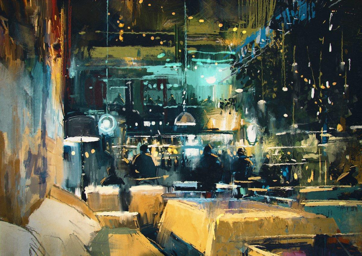 Пейзаж современный городской Полотно изображает колоритный интерьер бара и ресторана в ночное времяПейзаж современный городской<br>Репродукция на холсте или бумаге. Любого нужного вам размера. В раме или без. Подвес в комплекте. Трехслойная надежная упаковка. Доставим в любую точку России. Вам осталось только повесить картину на стену!<br>
