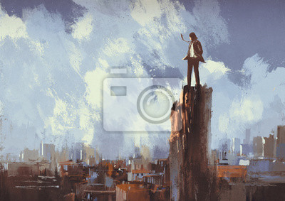 Постер Современный городской пейзаж Иллюстрации живопись бизнесмен стоит на вершине, глядя на городСовременный городской пейзаж<br>Постер на холсте или бумаге. Любого нужного вам размера. В раме или без. Подвес в комплекте. Трехслойная надежная упаковка. Доставим в любую точку России. Вам осталось только повесить картину на стену!<br>
