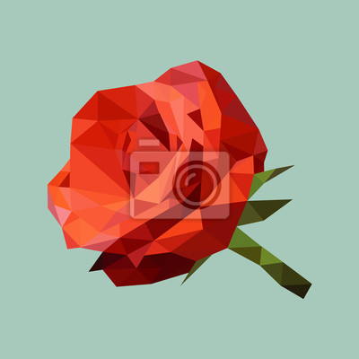 Постер-картина Полигональный арт Абстрактный красная роза, многоугольник, геометрический цветок, вектор, изолированныеПолигональный арт<br>Постер на холсте или бумаге. Любого нужного вам размера. В раме или без. Подвес в комплекте. Трехслойная надежная упаковка. Доставим в любую точку России. Вам осталось только повесить картину на стену!<br>