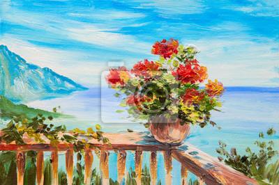 Средиземноморье, современный пейзаж Картина маслом пейзаж - букет цветов на фоне Средиземного моря, побережье близ горСредиземноморье, современный пейзаж<br>Репродукция на холсте или бумаге. Любого нужного вам размера. В раме или без. Подвес в комплекте. Трехслойная надежная упаковка. Доставим в любую точку России. Вам осталось только повесить картину на стену!<br>