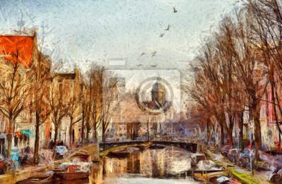 Пейзаж современный городской Амстердам канал на утро импрессионистической живописиПейзаж современный городской<br>Репродукция на холсте или бумаге. Любого нужного вам размера. В раме или без. Подвес в комплекте. Трехслойная надежная упаковка. Доставим в любую точку России. Вам осталось только повесить картину на стену!<br>