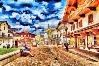 Пейзаж современный городской Небольшие европейские города туристы площади масляной живописиПейзаж современный городской<br>Репродукция на холсте или бумаге. Любого нужного вам размера. В раме или без. Подвес в комплекте. Трехслойная надежная упаковка. Доставим в любую точку России. Вам осталось только повесить картину на стену!<br>