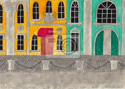 Постер Современный городской пейзаж Фасады исторических зданий. Акварель и карандашный рисунок.Современный городской пейзаж<br>Постер на холсте или бумаге. Любого нужного вам размера. В раме или без. Подвес в комплекте. Трехслойная надежная упаковка. Доставим в любую точку России. Вам осталось только повесить картину на стену!<br>