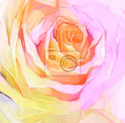 Постер Цветы в современной живописи Картина маслом закрыть розы. Ручная роспись цветочные лепестки. По-прежнему жизни белый цвет цветок, создать изображение в мягкие розовые и желтые цветаЦветы в современной живописи<br>Постер на холсте или бумаге. Любого нужного вам размера. В раме или без. Подвес в комплекте. Трехслойная надежная упаковка. Доставим в любую точку России. Вам осталось только повесить картину на стену!<br>