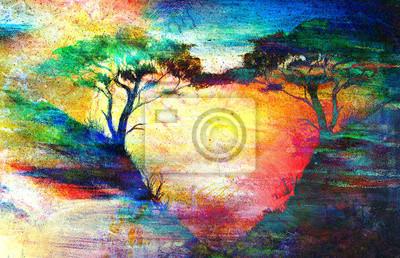 Пейзажи Картина закат, море и дерево, обои, пейзаж цвет коллаж, 31x20 см, на бумагеПейзаж горный в современной живописи<br>Постер на холсте или бумаге. Любого нужного вам размера. В раме или без. Подвес в комплекте. Трехслойная надежная упаковка. Доставим в любую точку России. Вам осталось только повесить картину на стену!<br>