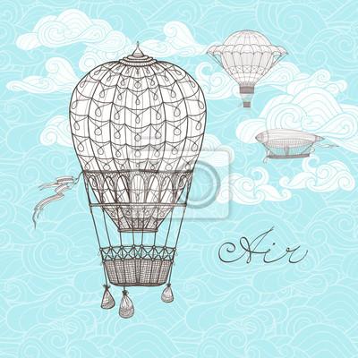 Постер-картина Воздушные шары Винтаж Небо ИллюстрацияВоздушные шары<br>Постер на холсте или бумаге. Любого нужного вам размера. В раме или без. Подвес в комплекте. Трехслойная надежная упаковка. Доставим в любую точку России. Вам осталось только повесить картину на стену!<br>
