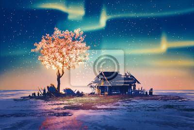 Постер Ночь Заброшенный дом и фантазий огни дерево под Северное Сияние,картина, иллюстрация.Ночь<br>Постер на холсте или бумаге. Любого нужного вам размера. В раме или без. Подвес в комплекте. Трехслойная надежная упаковка. Доставим в любую точку России. Вам осталось только повесить картину на стену!<br>