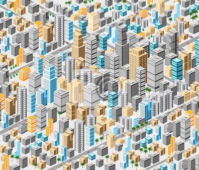 Постер Современный городской пейзаж Фоне изометрической городаСовременный городской пейзаж<br>Постер на холсте или бумаге. Любого нужного вам размера. В раме или без. Подвес в комплекте. Трехслойная надежная упаковка. Доставим в любую точку России. Вам осталось только повесить картину на стену!<br>