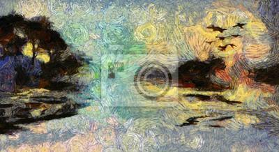 Пейзаж современный морской Яркие Клубящиеся живописи острова на восходе или закате солнцаПейзаж современный морской<br>Репродукция на холсте или бумаге. Любого нужного вам размера. В раме или без. Подвес в комплекте. Трехслойная надежная упаковка. Доставим в любую точку России. Вам осталось только повесить картину на стену!<br>