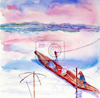 Пейзаж современный морской Рыбак в озере акварельПейзаж современный морской<br>Репродукция на холсте или бумаге. Любого нужного вам размера. В раме или без. Подвес в комплекте. Трехслойная надежная упаковка. Доставим в любую точку России. Вам осталось только повесить картину на стену!<br>