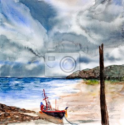 Пейзаж современный морской Буря над акварелью пейзаж нарисовалПейзаж современный морской<br>Репродукция на холсте или бумаге. Любого нужного вам размера. В раме или без. Подвес в комплекте. Трехслойная надежная упаковка. Доставим в любую точку России. Вам осталось только повесить картину на стену!<br>