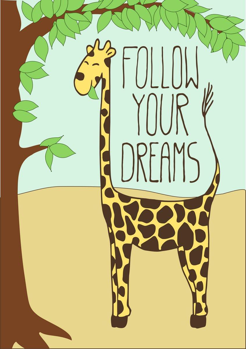 Постер-картина Мотивационный плакат Открытка с милый мультфильм жирафМотивационный плакат<br>Постер на холсте или бумаге. Любого нужного вам размера. В раме или без. Подвес в комплекте. Трехслойная надежная упаковка. Доставим в любую точку России. Вам осталось только повесить картину на стену!<br>