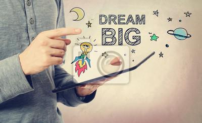 Постер-картина Мотивационный плакат Молодой человек, указывая на большую мечту концепцииМотивационный плакат<br>Постер на холсте или бумаге. Любого нужного вам размера. В раме или без. Подвес в комплекте. Трехслойная надежная упаковка. Доставим в любую точку России. Вам осталось только повесить картину на стену!<br>