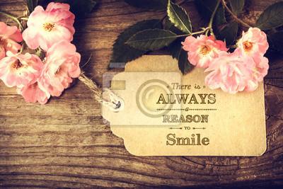Постер-картина Мотивационный плакат Всегда есть повод для улыбки сообщение с розамиМотивационный плакат<br>Постер на холсте или бумаге. Любого нужного вам размера. В раме или без. Подвес в комплекте. Трехслойная надежная упаковка. Доставим в любую точку России. Вам осталось только повесить картину на стену!<br>