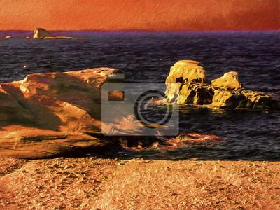 Пейзаж современный морской Живопись на острове Милос вид на море со скалами и волнамиРепродукция на холсте или бумаге. Любого нужного вам размера. В раме или без. Подвес в комплекте. Трехслойная надежная упаковка. Доставим в любую точку России. Вам осталось только повесить картину на стену!<br>