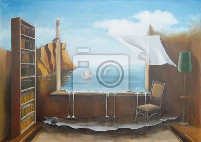 Средиземноморье, современный пейзаж Интерьер DreamsFantastic с открытым окном.Средиземноморье, современный пейзаж<br>Репродукция на холсте или бумаге. Любого нужного вам размера. В раме или без. Подвес в комплекте. Трехслойная надежная упаковка. Доставим в любую точку России. Вам осталось только повесить картину на стену!<br>
