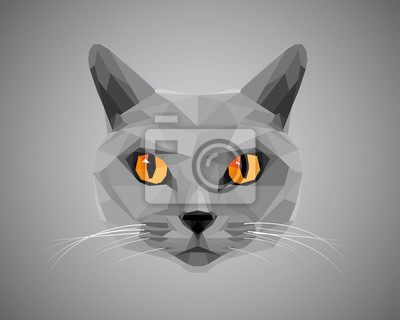 Постер-картина Полигональный арт Серый кот с оранжевыми глазами - полигональный стиль.Полигональный арт<br>Постер на холсте или бумаге. Любого нужного вам размера. В раме или без. Подвес в комплекте. Трехслойная надежная упаковка. Доставим в любую точку России. Вам осталось только повесить картину на стену!<br>