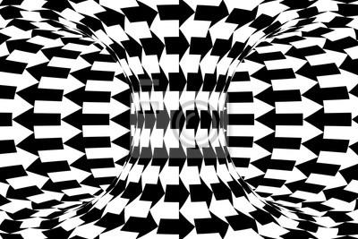 Постер-картина Оптическое искусство Черный и белый горизонтальные стрелки Торус абстрактный фонОптическое искусство<br>Постер на холсте или бумаге. Любого нужного вам размера. В раме или без. Подвес в комплекте. Трехслойная надежная упаковка. Доставим в любую точку России. Вам осталось только повесить картину на стену!<br>
