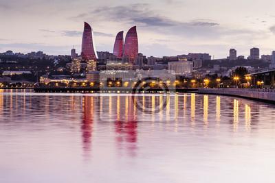 Вид на набережную и город ночью, в Баку, Азербайджан, 30x20 см, на бумагеБаку<br>Постер на холсте или бумаге. Любого нужного вам размера. В раме или без. Подвес в комплекте. Трехслойная надежная упаковка. Доставим в любую точку России. Вам осталось только повесить картину на стену!<br>