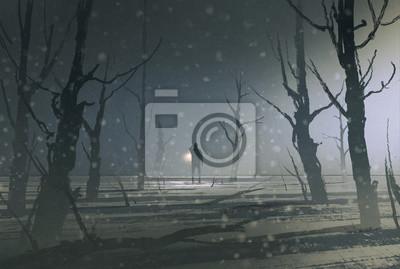 Постер Ночь Человека, держащего фонарь стоит в темный лес с туман,живопись, иллюстрацияНочь<br>Постер на холсте или бумаге. Любого нужного вам размера. В раме или без. Подвес в комплекте. Трехслойная надежная упаковка. Доставим в любую точку России. Вам осталось только повесить картину на стену!<br>