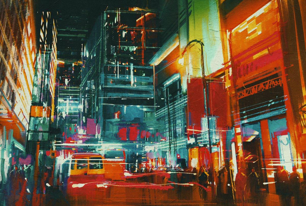 Пейзаж современный городской Улицы города ночью с разноцветными огоньками,цифровая живописьПейзаж современный городской<br>Репродукция на холсте или бумаге. Любого нужного вам размера. В раме или без. Подвес в комплекте. Трехслойная надежная упаковка. Доставим в любую точку России. Вам осталось только повесить картину на стену!<br>