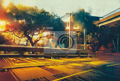 Пейзаж современный городской Вид сбоку на пустой улице пейзаж на закате,цифровая живописьПейзаж современный городской<br>Репродукция на холсте или бумаге. Любого нужного вам размера. В раме или без. Подвес в комплекте. Трехслойная надежная упаковка. Доставим в любую точку России. Вам осталось только повесить картину на стену!<br>
