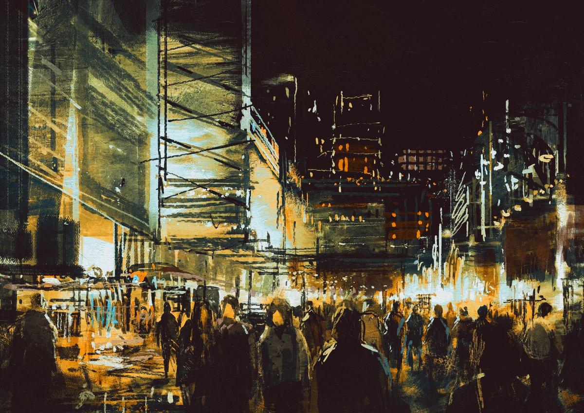 Постер Современный городской пейзаж Покраска торговая улица города с яркой ночной жизньюСовременный городской пейзаж<br>Постер на холсте или бумаге. Любого нужного вам размера. В раме или без. Подвес в комплекте. Трехслойная надежная упаковка. Доставим в любую точку России. Вам осталось только повесить картину на стену!<br>