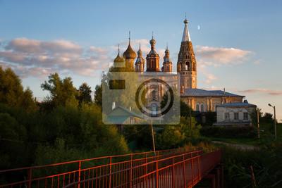Сельских вечерний пейзаж с мостом и старая каменная церковь, Россия, 30x20 см, на бумагеИваново<br>Постер на холсте или бумаге. Любого нужного вам размера. В раме или без. Подвес в комплекте. Трехслойная надежная упаковка. Доставим в любую точку России. Вам осталось только повесить картину на стену!<br>