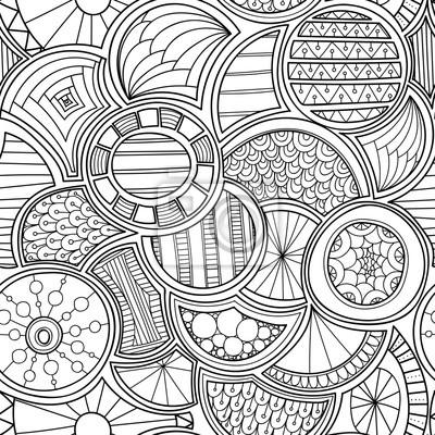 Постер-картина Раскраски антистресс Стиль Zentangle круги бесшовные модели. Каракули черный и белый абстрактный векторный фон.Раскраски антистресс<br>Постер на холсте или бумаге. Любого нужного вам размера. В раме или без. Подвес в комплекте. Трехслойная надежная упаковка. Доставим в любую точку России. Вам осталось только повесить картину на стену!<br>