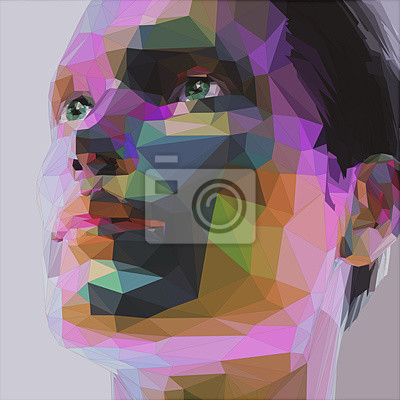 Постер-картина Полигональный арт Низкий поли абстрактный портрет человекаПолигональный арт<br>Постер на холсте или бумаге. Любого нужного вам размера. В раме или без. Подвес в комплекте. Трехслойная надежная упаковка. Доставим в любую точку России. Вам осталось только повесить картину на стену!<br>
