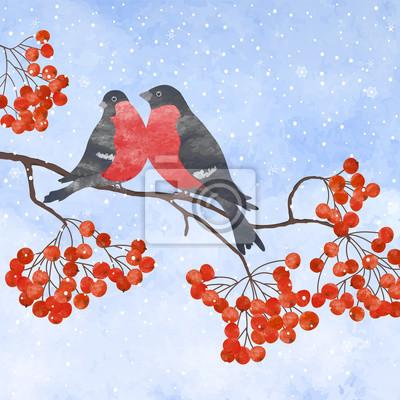 Постер Рябина Зимняя карта с снегирьРябина<br>Постер на холсте или бумаге. Любого нужного вам размера. В раме или без. Подвес в комплекте. Трехслойная надежная упаковка. Доставим в любую точку России. Вам осталось только повесить картину на стену!<br>