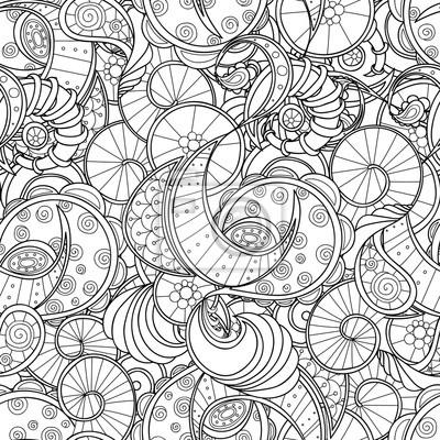 Постер-картина Раскраски антистресс Волнистые бесшовные модели Zentangle. Каракули черный и белый абстрактный векторный фон.Раскраски антистресс<br>Постер на холсте или бумаге. Любого нужного вам размера. В раме или без. Подвес в комплекте. Трехслойная надежная упаковка. Доставим в любую точку России. Вам осталось только повесить картину на стену!<br>