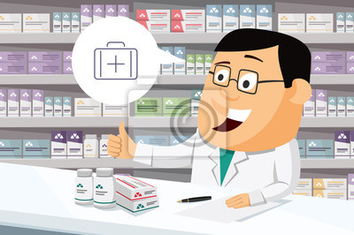 Постер Оформление офиса Фармацевт химик человек в аптеке. Продажа витаминов и лекарств. Смешной мультфильм векторные иллюстрации., 30x20 см, на бумагеАптека<br>Постер на холсте или бумаге. Любого нужного вам размера. В раме или без. Подвес в комплекте. Трехслойная надежная упаковка. Доставим в любую точку России. Вам осталось только повесить картину на стену!<br>