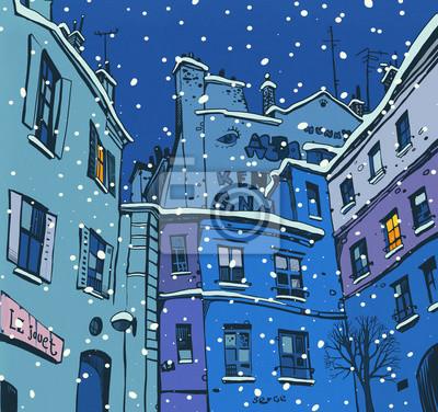 Пейзаж современный городской Графический эскиз с изображением типичного Парижского двора в сумерках понимаПейзаж современный городской<br>Репродукция на холсте или бумаге. Любого нужного вам размера. В раме или без. Подвес в комплекте. Трехслойная надежная упаковка. Доставим в любую точку России. Вам осталось только повесить картину на стену!<br>