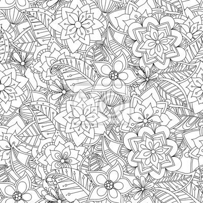 Постер-картина Раскраски антистресс Каракули цветы бесшовные шаблон. Стиль Zentangle фоне. Черный и белый рисованной шаблон.Раскраски антистресс<br>Постер на холсте или бумаге. Любого нужного вам размера. В раме или без. Подвес в комплекте. Трехслойная надежная упаковка. Доставим в любую точку России. Вам осталось только повесить картину на стену!<br>